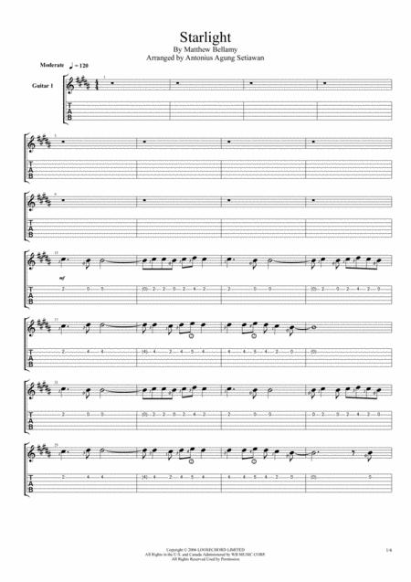Starlight Quartet Guitar Tablature By Muse Digital Sheet Music For Tablature Download Print H0 650083 Sc001309452 Sheet Music Plus