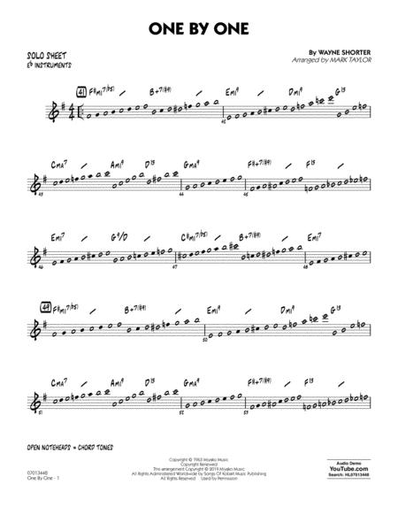 One by One (arr. Mark Taylor) - Eb Solo Sheet