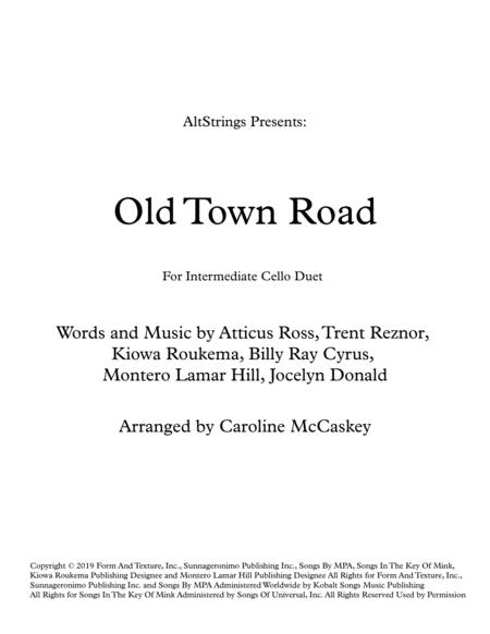 Old Town Road (remix) for Intermediate Cello Duet