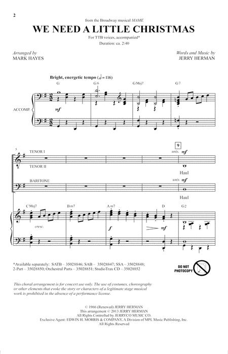 We Need A Little Christmas (from Mame) (arr. Mark Hayes)