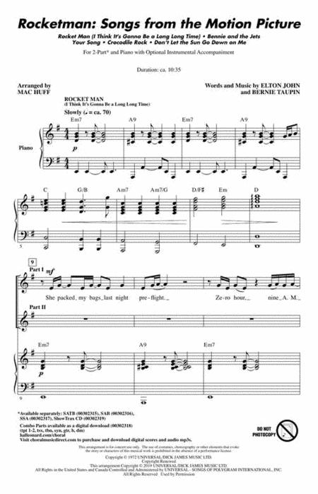 Songs from the Motion Picture  SATB Bernie Taupin/_Elton John Choral S Rocketman