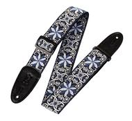 \'60s Hootenanny Jacquard Weave Guitar Strap - Floral Blue