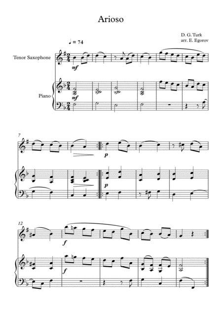 Arioso, Daniel Gottlob Turk, For Tenor Saxophone & Piano