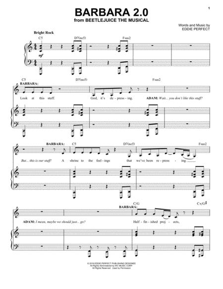 Barbara 2 0 From Beetlejuice The Musical By Digital Sheet Music For Piano Vocal Download Print Tranposable Music Hx 449315 From Hal Leonard Digital Sheet Music At Sheet Music Plus
