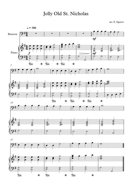 Jolly Old St. Nicholas, For Bassoon & Piano
