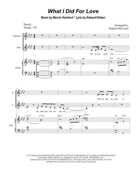 What I Did For Love (for 2-part choir - (SA)