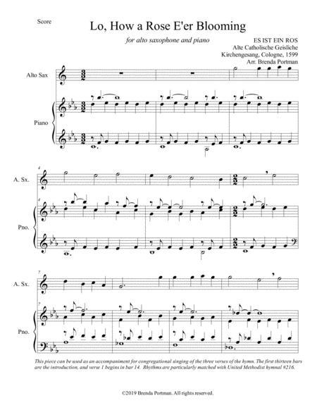 Lo, How a Rose E'er Blooming (alto sax/piano), arr. Brenda Portman