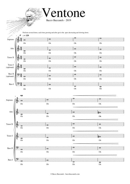 Ventone - easy SATB composition + optional additional T & B parts