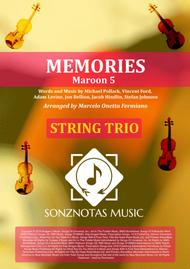 Memories - Maroon 5 - Sheet Music for String Trio [Score and Parts]