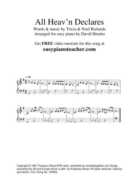 All Heav'n Declares - VERY EASY PIANO