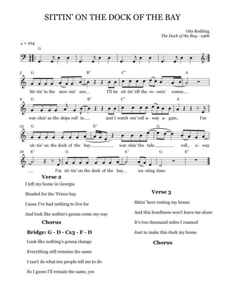 Sittin' On) The Dock Of The Bay - Leadsheet (Melody Notated) By Otis  Redding - Digital Sheet Music For Lead Sheet - Download & Print  H0.709627-743000 | Sheet Music Plus