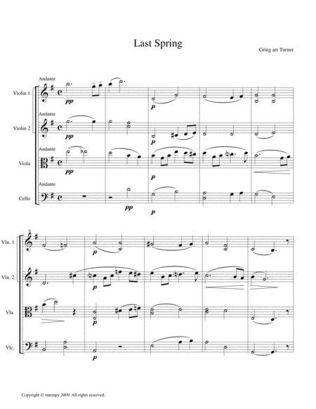 Last Spring by Grieg (arranged for String Quartet)