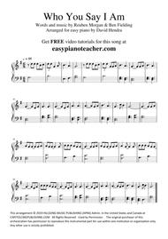 Who You Say I Am (Hillsong Worship) - VERY EASY PIANO