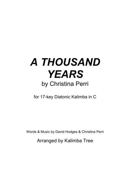A Thousand Years (Kalimba Tablature) By Christina Perri - Digital Sheet Music For Kalimba ...