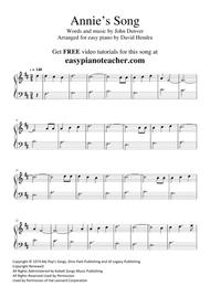 Annie's Song by John Denver - VERY EASY PIANO (with FREE video tutorial)