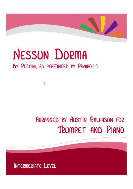 nessun dorma - trumpet and piano with free backing track to play along by  giacomo puccini (1858-1924) - digital sheet music for score,solo part -  download & print s0.748381 | sheet music plus  sheet music plus