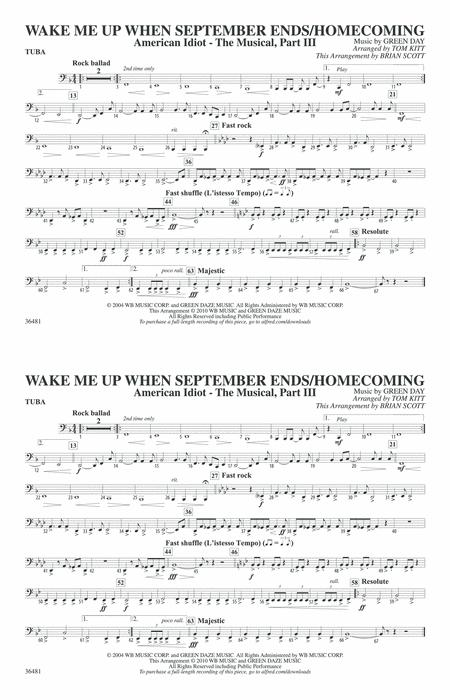 Wake Me Up When September Ends Homecoming Tuba By By Digital Sheet Music For Download Print Ax 00 Pc 0018256 Tb1 Sheet Music Plus