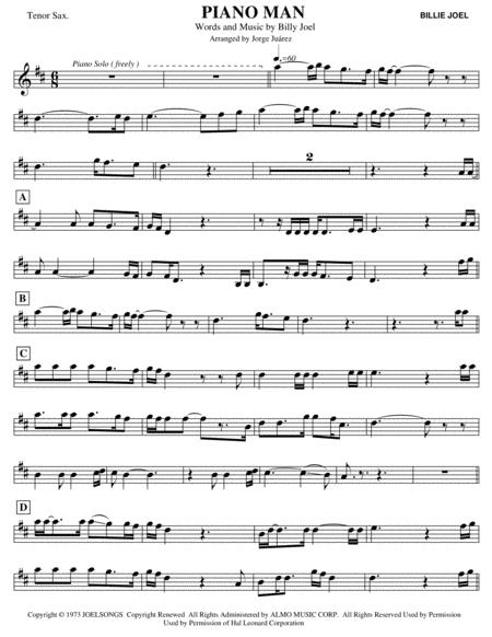 piano man - tenor sax by billy joel - digital sheet music for individual  part - download & print h0.774537-648150 | sheet music plus  sheet music plus