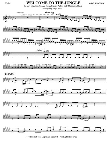 welcome to the jungle - violin by guns n' roses - digital sheet music for  individual part - download & print h0.777349-sc001291065   sheet music plus  sheet music plus