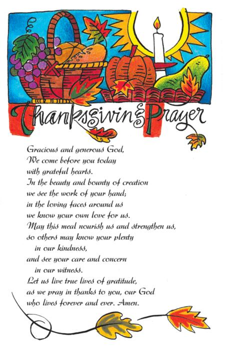 Prayer Card: Table Prayer For Thanksgiving By Michael O ...