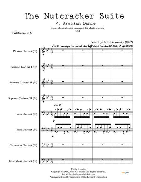 "nutcracker suite, mvt. v ""arabian dance"" for clarinet choir (full score  & set of parts) by peter ilyich tchaikovsky (1840-1893) - digital sheet  music for score,set of parts - download & print  sheet music plus"
