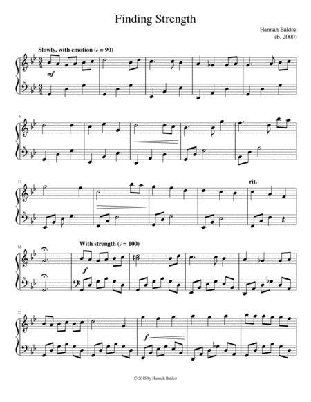 finding strength - hannah baldoz by hannah baldoz - digital sheet music for  - download & print s0.818453 | sheet music plus  sheet music plus