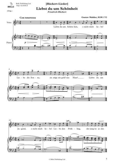 liebst du um schonheit (original key. e-flat major) by gustav mahler  (1860-1911) - digital sheet music for score - download & print  xb.dnlb01426eb | sheet music plus  sheet music plus
