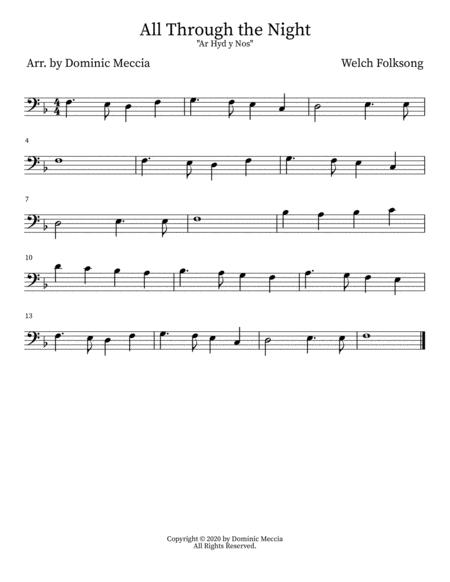 """all through the night (""""ar hyd y nos"""")- bass clef by welsh folk  song - digital sheet music for individual part,score - download & print  s0.904801   sheet music plus  sheet music plus"""