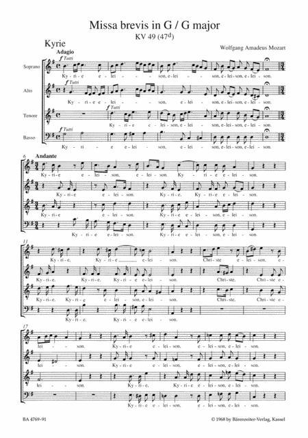 Missa brevis G major, KV 49 (47 d)