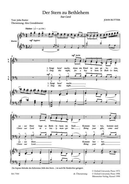der stern zu bethlehem star carol sheet music by john. Black Bedroom Furniture Sets. Home Design Ideas