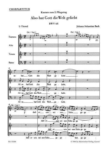 Also hat Gott die Welt geliebt, BWV 68