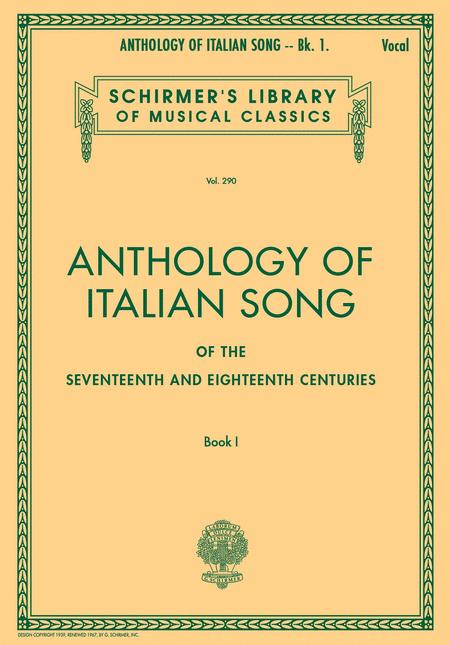 Anthology of Italian Song of the 17th and 18th Centuries - Book I