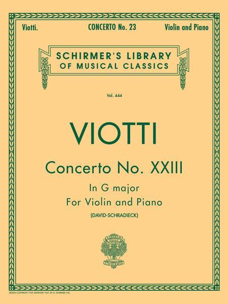 Violin Concerto No. 23 In G Major - Violin/Piano