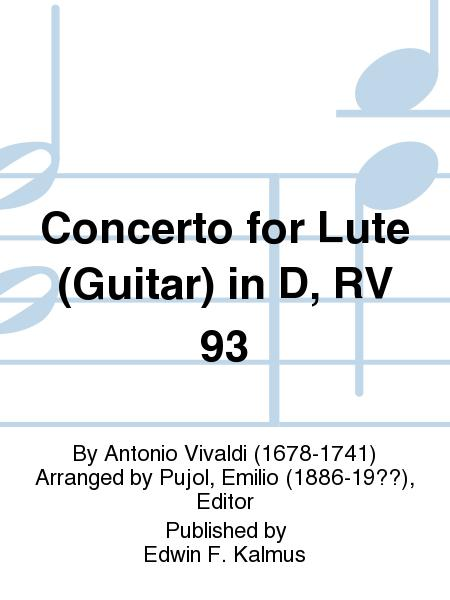 Concerto For Lute (Guitar) In D, RV 93 Sheet Music By