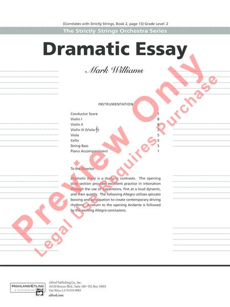 High School Admission Essay Examples Look Topics For Synthesis Essay also High School Entrance Essays Preview Dramatic Essay By Mark Williams Ap  Sheet Music Plus Essay Tips For High School