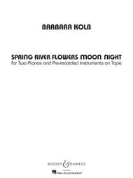 Spring River Flowers Moon Night