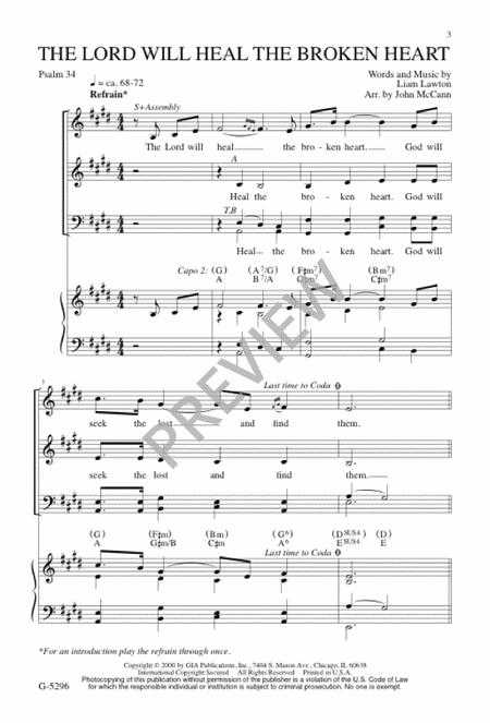 The Lord Will Heal The Broken Heart Sheet Music By Liam Lawton ...