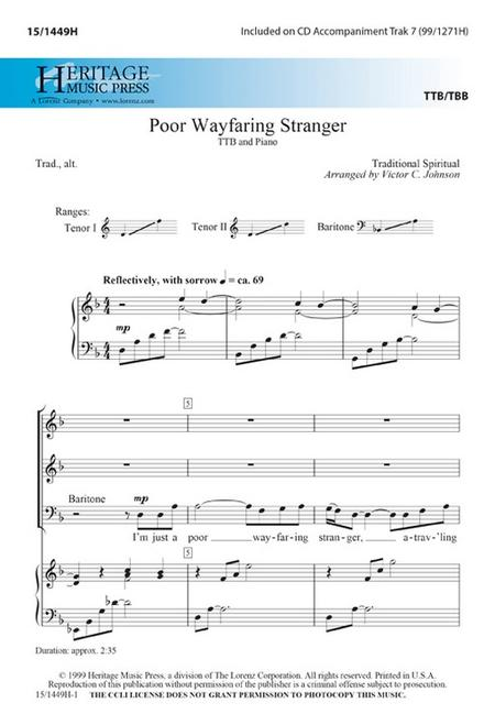 Poor Wayfaring Stranger Sheet Music By Victor C Johnson - Sheet ...