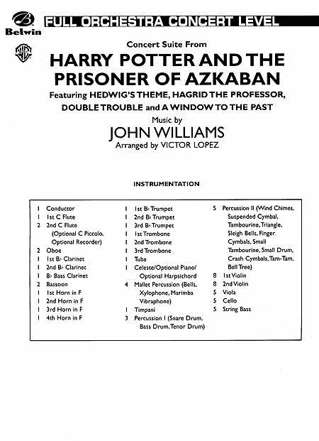 Harry Potter and the Prisoner of Azkaban, Concert Suite from