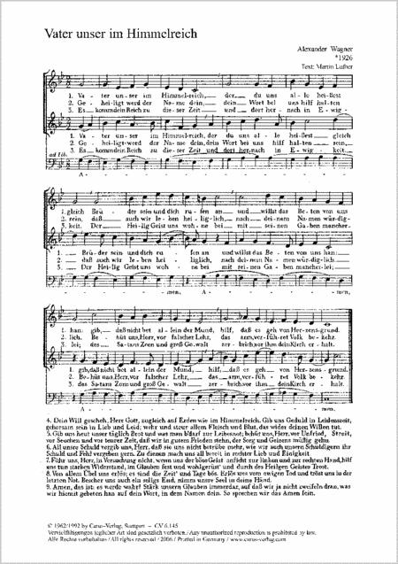 Wagner: Vater unser; Wenn wir in hochsten Noten