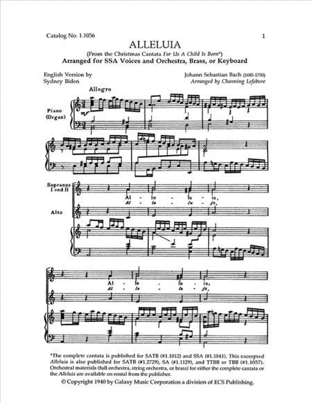 Alleluia from For Us a Child is Born (Uns ist ein Kind geboren) (Cantata No. 142) (Choral Score)