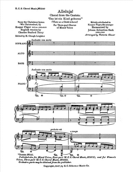 Uns ist ein Kind geboren: Alleluia! gelobet sei Gott (Praise unto God!), BWV 142