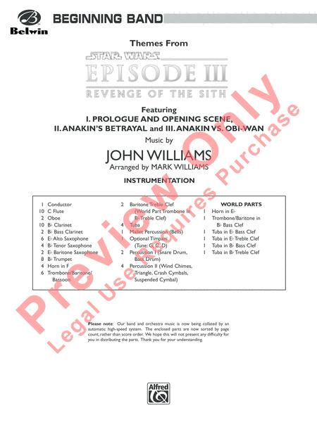 Themes From Star Wars Episode Iii Revenge Of The Sith By John Williams Part S Score Sheet Music For Concert Band Buy Print Music Ap Cbm05015 From Belwin Music At Sheet Music Plus