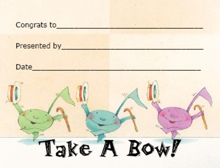 Award Certificates Mini - Take a Bow!