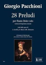 28 Preludes for Recorder Solo in melodic progression from works by A. Corelli, J.S. Bach, G.Ph. Telemann