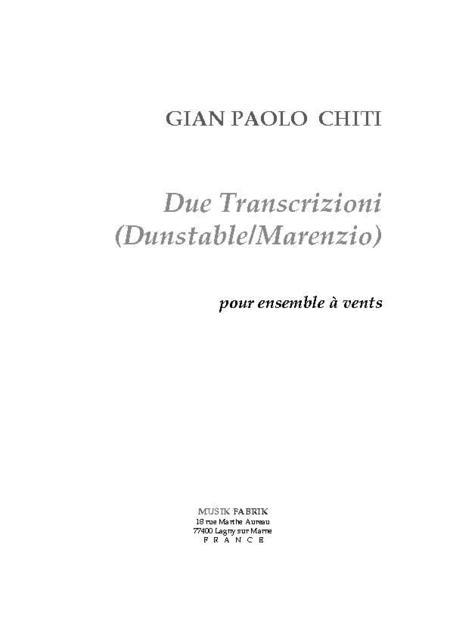 Due Transcrizioni (Dunstable/Marenzio)
