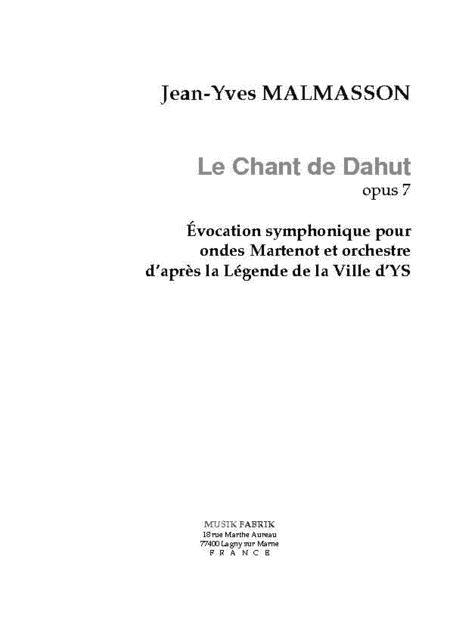 Le Chant de Dahut for Ondes martenot/Orchestra