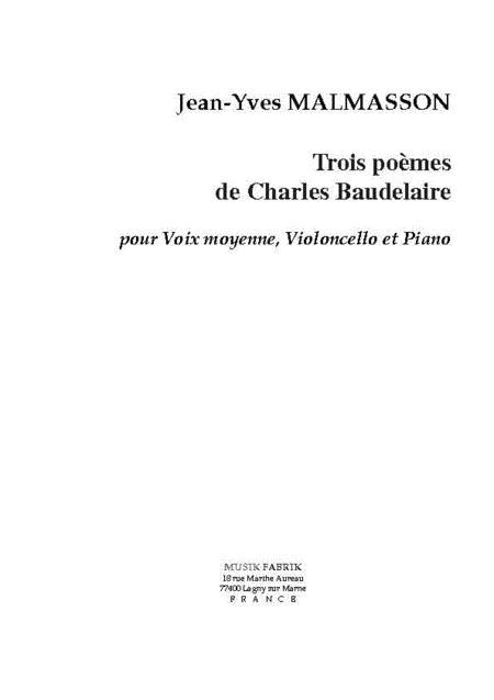 Trois Melodies sur des Poemes de Baudelaire