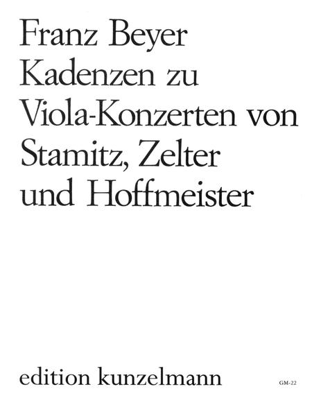 Cadenzas to Viola Concerti by Stamitz, Zelter, and Hoffmeister